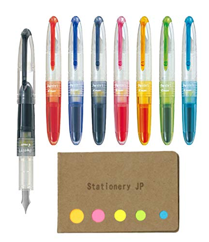 Pilot Petit1 Mini Fountain Pen, 8 Color Ink(Black/Blue/Red/Blue Black/Baby Pink/Apricot Orange/Apple Green/Clear Blue), Fine Nib, Sticky Notes Value Set