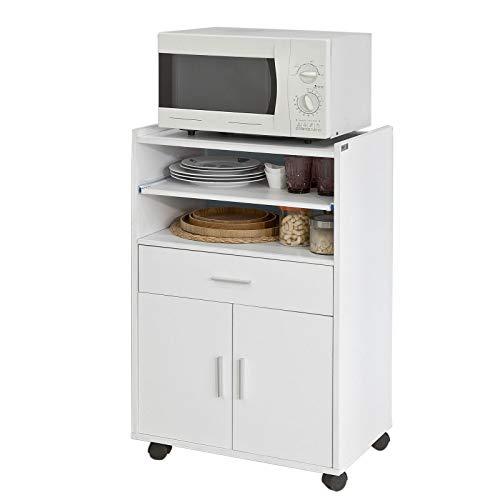 SoBuy® FSB09-W Küchenschrank Küchenwagen Rollschrank Getränkewagen Mikrowellenschrank mit Einer Schieb-Ablage weiß BHT ca: 59x92x40cm