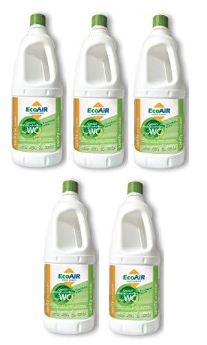 5 Pezzi - Bottiglia da 2 Litri DISGREGANTE WC Sanity Mobile con Nuova FRAGRANZA EUCALIPTO - Liquido per Serbatoio ACQUE Nere WC Toilette Camper - COMP