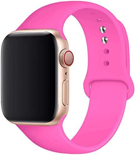 Correa De Silicona para Apple Watch 5 Band 44Mm 42Mm 38Mm 40Mm Correa Correa De Reloj Pulsera para Iwatch Series 6 Se 5 4 3 42 44 Mm, Barbie Powder, 42 O 44 Mm SM