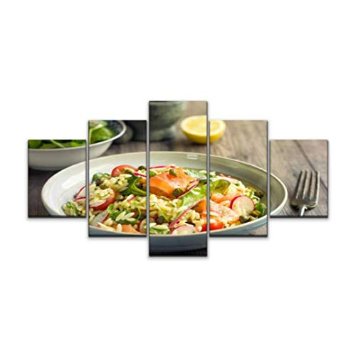 5 panels Wall Art Print On Canvas healthy orzo salad with smoke salmon noodles stock pictures royalty Modern Abstract Picture Poster for Home Decor Stretched and Framed Ready to Hang (60''Wx32''H)