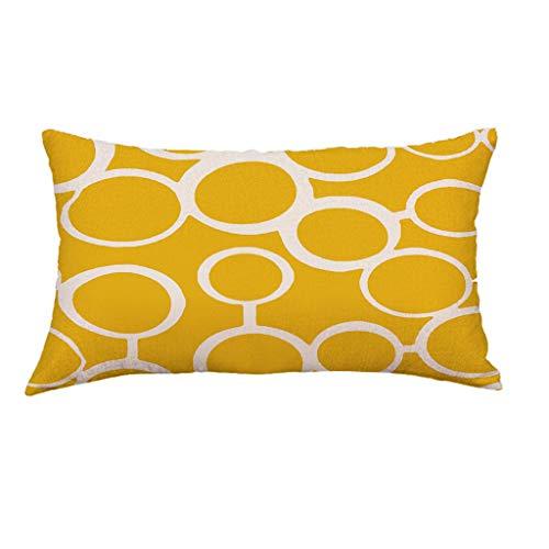 Hunpta @ Kissenbezug 30x50 cm - Gelb Kissenhüllen Geometrie Muster Kopfkissenbezug für Wohnzimmer Schlafzimmer Kinderzimmer Bett Sofa Dekor Home Dekorative Zierkissenbezüge mit Reißverschlüsse