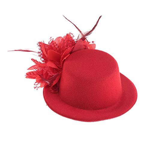 WMDHH Chapeau Haut de Forme Pince à Cheveux Plume Fleur décor Clips Chapeau Voile Violet Mini Chapeau Haut de Forme pour thé fête de Mariage