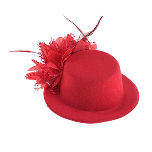 WMDHH Sombrero de Copa Pinza de Pelo Pluma Flor Clips de decoración Sombrero Velo Morado Mini Sombrero de Copa para Fiesta de té Fiesta de Boda