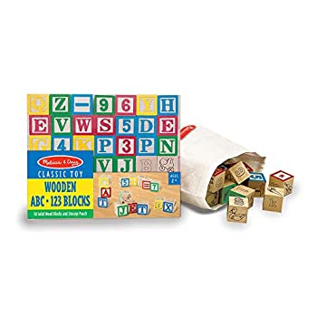 Melissa & Doug Deluxe Wooden ABC/123 1-Inch Blocks Set With Storage Pouch  50 pcs