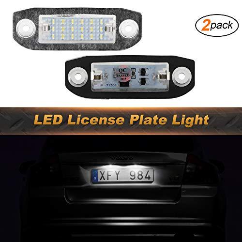 OZ-LAMPE Kennzeichenbeleuchtung 2 X 18 LED Nummernschildbeleuchtung 2835 SMD Kompatibel mit VOLV-O S80 1998~2015 V70 2007-2013 XC60 2008-2013 XC70 2007 ~ XC90 V50 S40 C30 2006-2010 vor dem Facelift