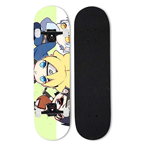 Totots Uzumaki Boruto Skateboard, Mitsuki Anime Siete-capa Skateboard, Uchiha Sarada Doble Tild Skateboard de cuatro ruedas, Naruto al aire libre Tablero de deportes extremos, monopatín adulto, regalo