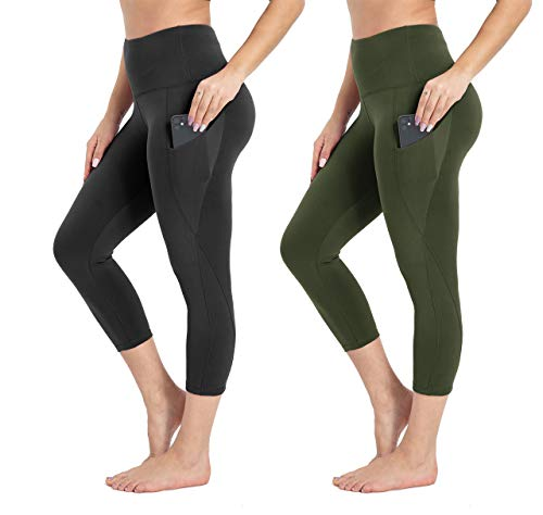 HIGHDAYS 2 Pack High Waist Capri Leggings with Pockets - Tummy Control Soft Women's Yoga Pants for Workout Running Cycling Athletic (Black/Olive,M)