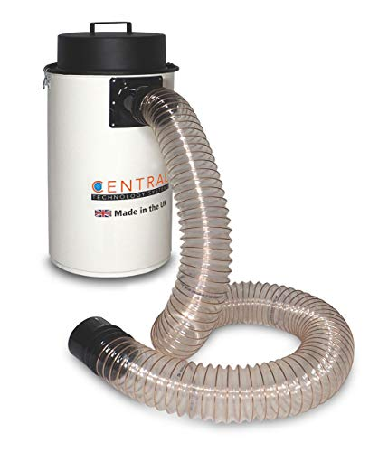 Cen-Tec Systems CTSDE50 50l Workshop Vacuum Dust Extractor Saw Dust and Chip Collector with 2m x 100mm Wire Reinforced Hose - Made from Steel in The UK