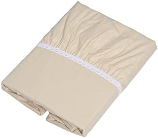 京都西川 ボックスシーツ ベージュ 100x200x30cm 綿100% 全周ゴム付き 着脱簡単 洗える TRS8266(S)