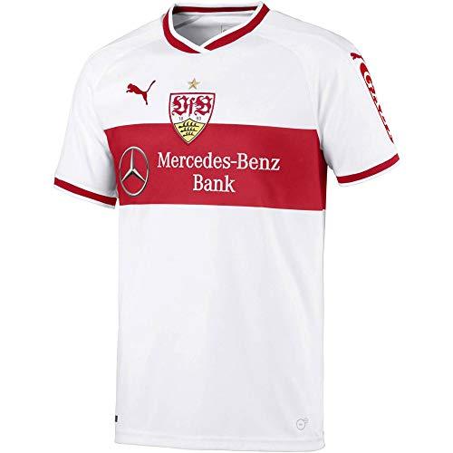 PUMA Herren VfB Stuttgart Home Replica Shirt w.Sponsor Trikot, White-Ribbon Red, S