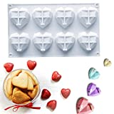 Silicone Heart Shaped Chocolate Candy Molds Tray 3D Diamond Cake Mold Fondant Baking Molds For Mousse,Soap,French Dessert, Pastry, Brownie, Ice Cube