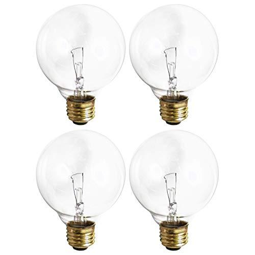 (4 Pack) G25 Incandescent Incandescent Light Bulb 2700K Soft Light, Decorative Globe Light Bulbs,E26 Medium Base, Perfect for Pendant Bathroom/Vanity Mirror Makeup, Dimmable. (Crystal-Clear, 25-Watt)