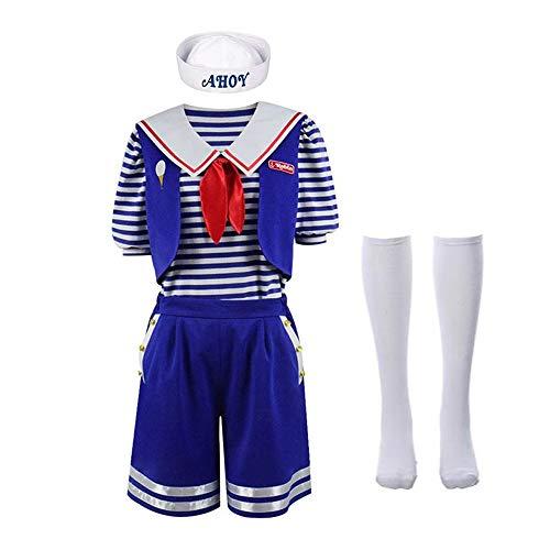 ZLU Robin Scoops Ahoy Stranger Things 3 Juego de Roles Vestido Azul Oscuro Disfraz de Marinero Carnaval Carnaval de Halloween