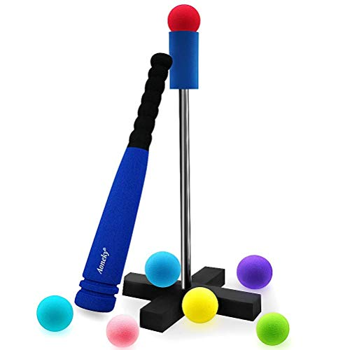Aoneky Mini Foam Tball Set for Toddlers - Carry Bag Included - Best Baseball T Ball Toys for Kids Age 2 Years Old - Upgraded Version (Blue 1)