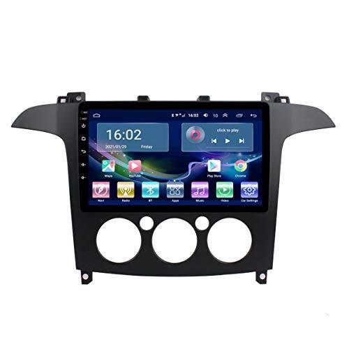 Car Radio, Android 10 Car Dvd Gps Player para Ford S-Max 2007-2008, Pantalla táctil 2.5D de 9 pulgadas, Navegación de audio y video incorporada Bt Wifi,Manual,4G+WIFI 2G+32G