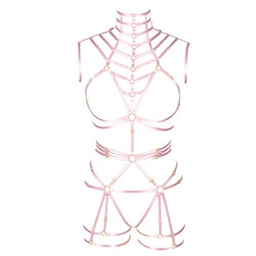PETMHS Imbracatura Completa per Il Corpo Cravatta con Reggiseno Top Corto Biancheria Intima più Dimensioni Punk Abbigliamento Gotico Fetish (3 MLCN0130rosa)