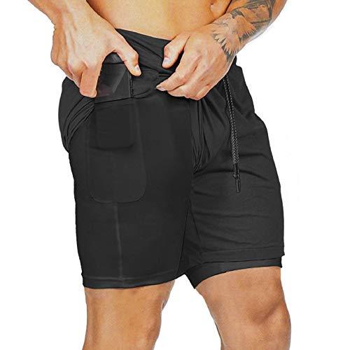 UMIPUBO Pantaloncini Sportivi Uomo Asciugatura Veloce Pantaloncini 2 in 1 Doppio Strato Pantaloncini con Tasche Vita Elasticizzata per Allenamento Jogging Running M-2XL (Nero, L)