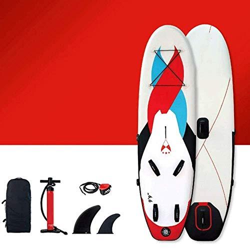 Zixin Inflable Windsurf Conjunto, Tabla de Surf;Windsurfing;Paddle Board, Stand up Paddle Inflable Junta  Los estabilizadores Integrados  Extra Ancho de Cubierta, de Fibra de Vidrio Paddle
