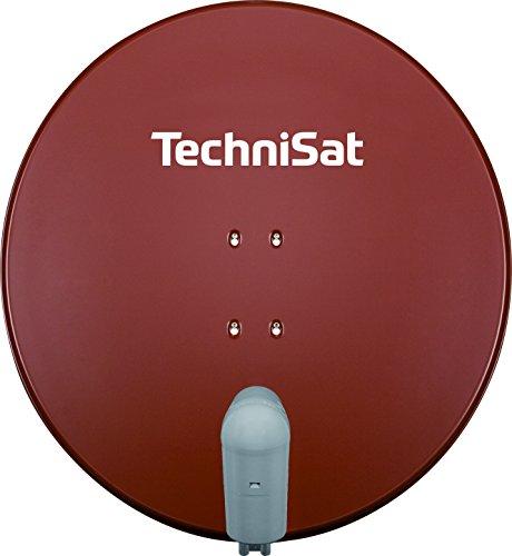 TechniSat SATMAN 850 PLUS – Satellitenschüssel für 4 Teilnehmer (85 cm Sat Spiegel mit Masthalterung und UNYSAT Quattro-Switch LNB im Wetterschutz-Gehäuse) rot