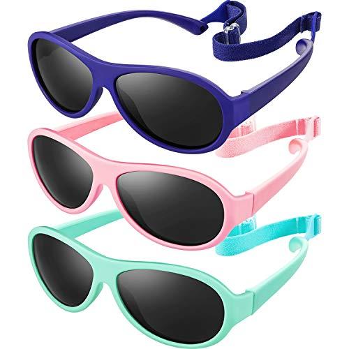 3 Paquetes de Gafas de Sol de Bebé con Correa Gafas de Sol de Goma Flexible con Montura TPE para Bebés, Niños