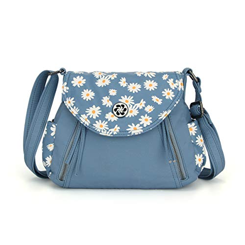 Angel Barcelo Crossover Purse and Handbags Crossbody Bags for Women,Ultra Soft Leather Neatpack Bag Shoulder Purses for Girl (Blue)