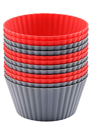 Mirenlife 12 Pack Reusable Nonstick Jumbo Silicone Baking Cups Cupcake and Muffin Liners 38 Inch Large Size in Storage Container Red and Gray Colors Round