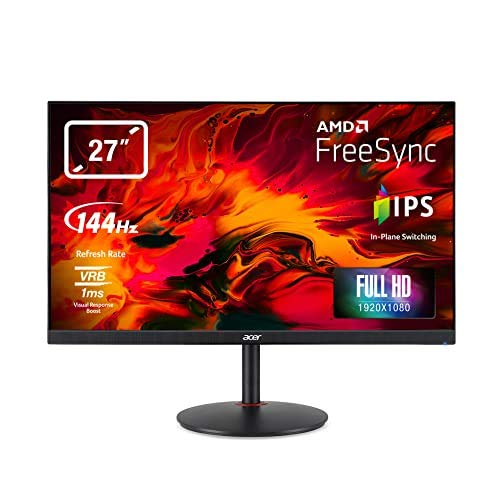 Acer Nitro XV270P 27 inch Full HD Gaming Monitor (IPS Panel, FreeSync, 144Hz, 1ms, DP, HDMI, Height-adjustable Stand, Black)