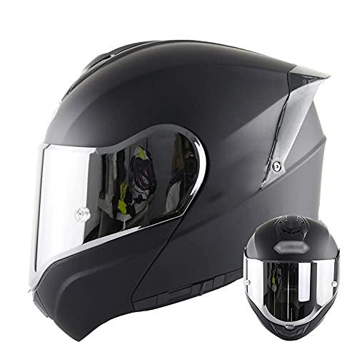 Casco Modular para Motocicleta Casco Integral Dot/ECE Homologado Cascos Moto integrales para Mujer Hombre Adultos con Doble Visera (Color : Black B, Size : XL/X-Large 59-60cm)