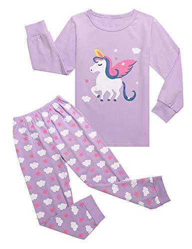 Bricnat Mädchen Schlafanzug Einhorn Nachtwäsche Baumwolle Kinder Herbst und Winter Pyjama Set Langarm Pyjama Zweiteiliger Schlafanzug 140 Lila