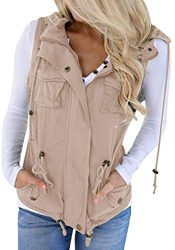 Hestenve Womens Jacket Vest Military Hoodie Utility Lightweight Drawstring Zipper Anorak (Small, Z-khaki)