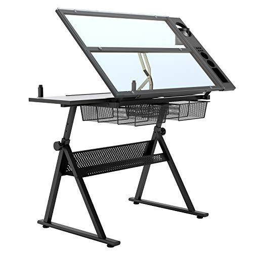 SogesHome Mesa de dibujo Multifuncional Mesa de dibujo Mesa de mesa Inclinación ajustable Escritorio con 2 cajones para trabajo, estudio, pintura, diseño, 100 x 60 cm, CZKLD-027