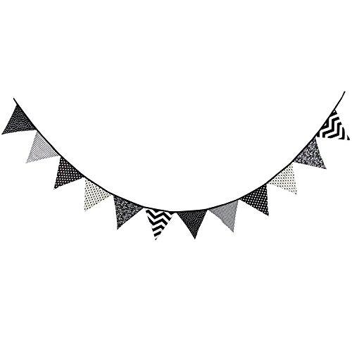 12Flaggen Special schwarz und weiß Muster Baumwolle Stoff Wimpelkette Wimpel Banner Girlande Hochzeit/baby Dusche/Outdoor Zelt Party Dekoration