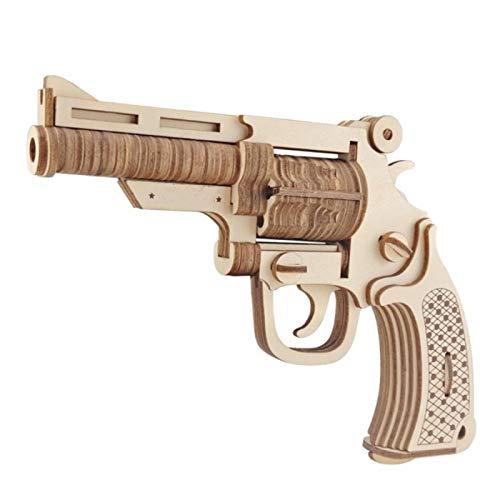 yitao Jigsaws de madera DIY Pistola Modelo Juguetes Montados 3D Rompecabezas de Madera Juegos Artesanías Regalo para Niños Niños Regalo de Cumpleaños