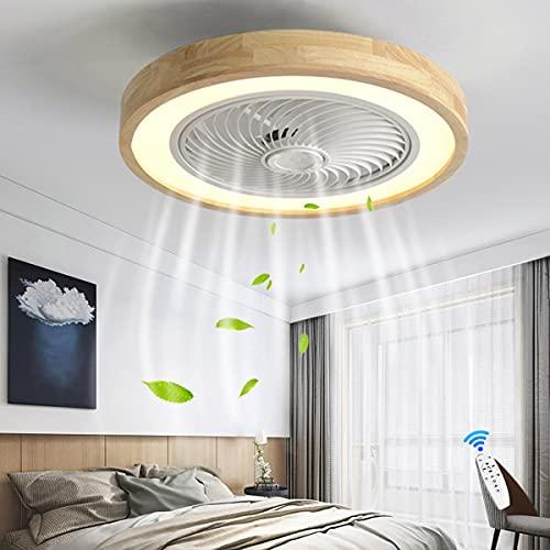 Ventilador de techo Luminaria LED de 36W Lámpara de techo moderna Regulable con control remoto Pantalla de madera Comedor Sala de estar Dormitorio Ventilador de guardería Suspensión 50CM