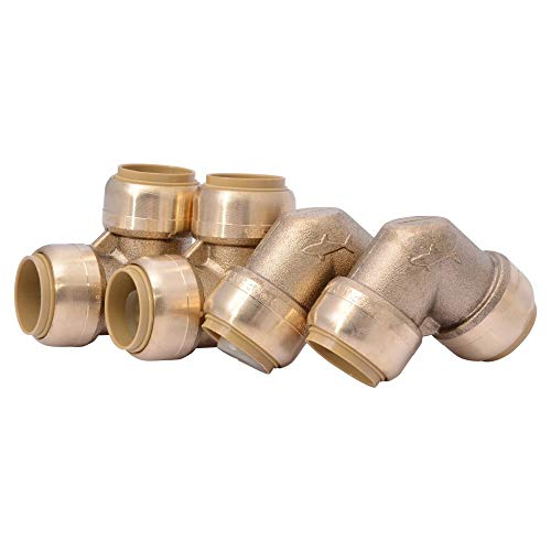 SharkBite U248LFA4 90 Degree Elbow, Plumbing Pipe Connector, PEX Fittings, Push-to-Connect, Copper, CPVC, HDPE, 1 Inch, Pack of 4
