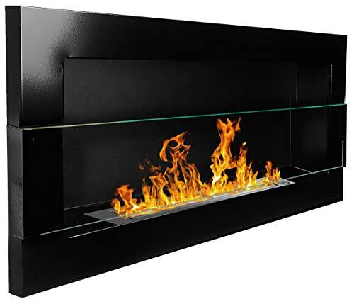 900x 400mm Gel Chimenea de bioetanol. biokamin Chimenea de pared Negro Brillante + cristal con soporte (–Renania De TÜV)