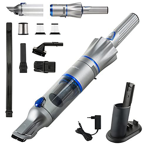 Genius Invictus One Version 2.0 Hand- und Bodenstaubsauger 12tlg blau - leichter, beutelloser und kabelloser 2 in 1 Akku-Handstaubsauger | Staubsauger für Polster, Möbel, Auto