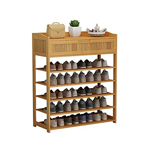 Estante de zapatos de bambú de múltiples capas con estante de zapatos del cajón Económico de la puerta de la puerta de la puerta del hogar del estante de la zapata del zapato del zapato del zapato
