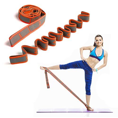 DeHub Sangle d'exercice, Bandes élastiques d'exercice d'entraînement, Adultes Bande de Résistance élastique Latine Yoga Pilates Danse Gym Fitness Sangle d'exercices. (Orange)