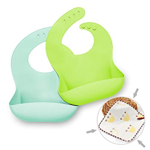 Baby Lätzchen Silikon 2-pack Baby lätzchen Silikon plastik weich Wasserdicht lätzchen mit auffangschale silicone abwaschbar Fütterungs Unisex(blau/grün)