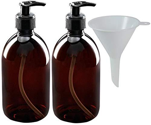 mikken 2 Seifenspender 250 ml Lotionspender aus Kunststoff, lebensmittelecht inkl. Trichter