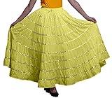 Phagun Mujeres Indias Ropa Media Larga Amarilla Casual Falda Maxi Desgaste del verano-36