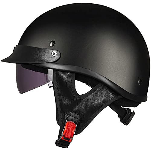 ILM Half Helmet Motorcycle Open Face Sun Visor Quick Release Buckle DOT Approved Cycling Motocross Suits Men Women (XXL, Matt Black)