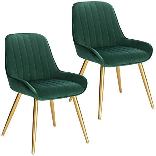 Lestarain 2X Sillas de Comedor Dining Chairs Sillas Tapizadas Paquete de 2 Sillas Cocina Nórdicas Terciopelo Sillas Bar Metal Silla de Oficina Verde Oscuro 🔥