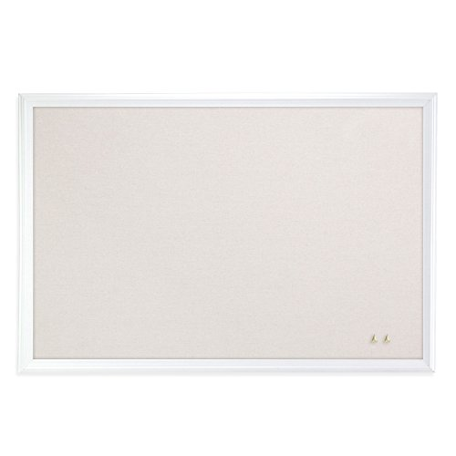 U Brands Cork Linen Bulletin Board, 30 x 20 Inches, White Wood Frame (2074U00-01)