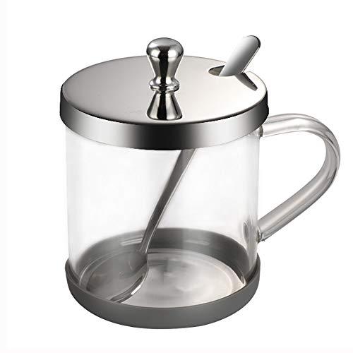 ZLDGYG Glasgewürzbox mit Löffel Haushaltsgewürzglas mit Edelstahldeckel