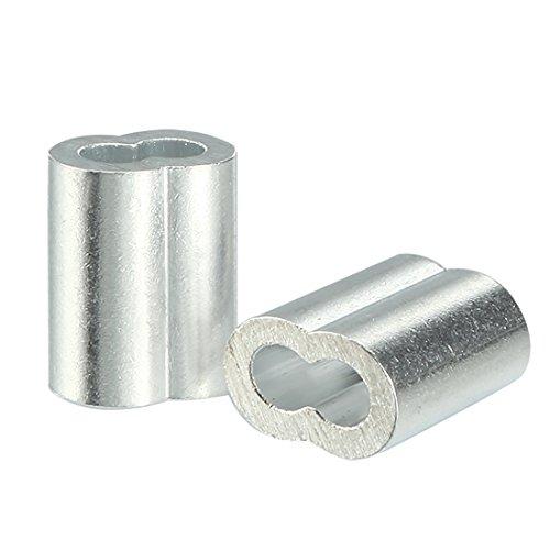 sourcingmap 4mm 5/32 pollici Cavo Fune manicotti in alluminio Clip ad anello aggraffatura 25pcs