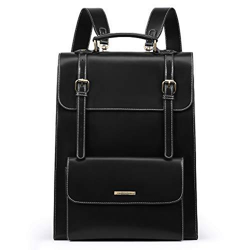 ECOSUSI Laptop Rucksack Damen für 15,6 Zoll Schulrucksack Mädchen Leder Daypack mit Laptopfach Wasserabweisend Schwarz