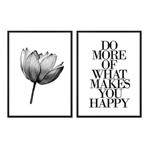 PHOTOLINI 2er Set Design-Poster No.12 mit Bilderrahmen Schwarz 30x40 cm schwarz-Weiss Motive Lotus Lotosblume Spruch Typographie